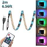 WenTop USB LED Light Strip 6,56 piedi (2M) 5V 5050 RGB che cambia flessibile impermeabile con RF Remote Control per cucina, camera da letto, casa illuminazione a LED Bar, Ristoranti, per auto, Garage