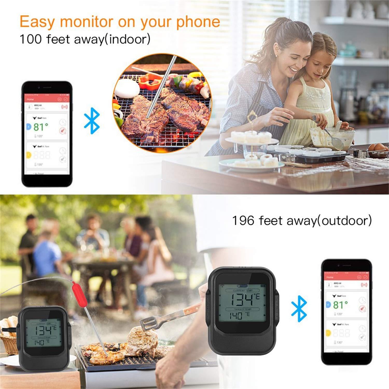 Essen Kochen Bluetooth Wireless BBQ Thermometer mit sechs Sonden und Timer für Ofen Fleisch Grill kostenlose App Control FairytaleMM