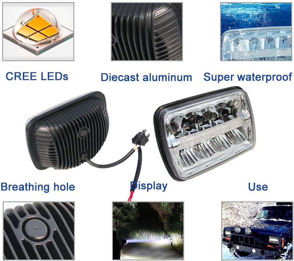 Globled 1PCS 7x6 CREE LED Headlight Sealed Beam Projector Headlamp DOT Approved High//Low Beam DRL Bulb for Ford Chevy Express Cargo Van 1500 2500 3500 Super Duty F550 F600 F650 F700 F750
