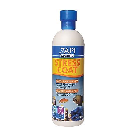 API Marino Stress Coat Agua Salada Acuario Agua Acondicionado 16-Ounce Botella