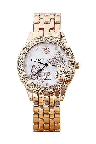 Reloj de pulsera - Geneva Reloj de pulsera de aleacion de estras de mariposa para mujeres Rosa de Oro: Amazon.es: Relojes