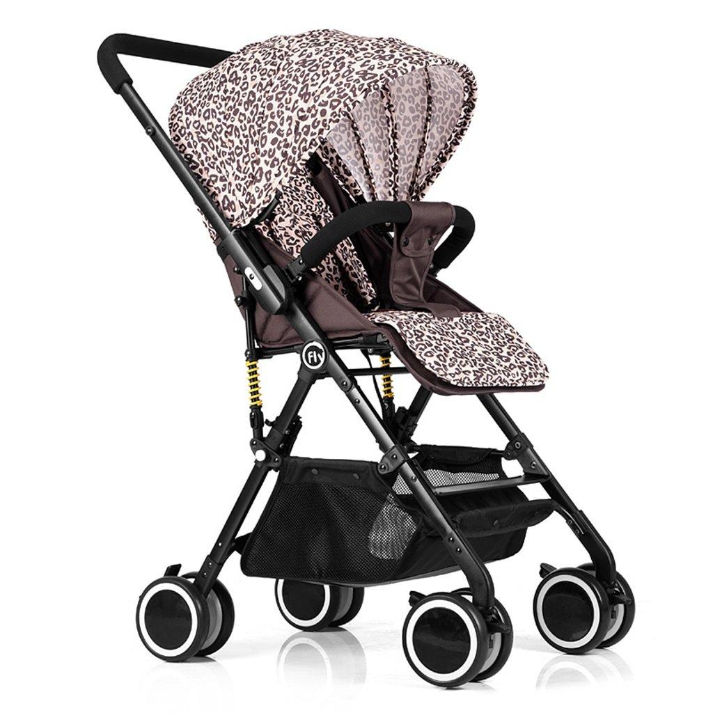 赤ちゃんベビーカー高風景超軽量ポータブルリクライニングベビー折りたたみカート、グリーン/ピンク/ブルー/ヒョウプリント、68 * 48 * 105センチメートル ( Color : Leopard ) B07BW54K1R