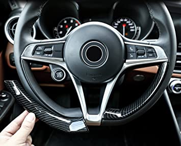 Fibra de Carbono Estilo ABS plástico volante Decoración Tiras Trim coche accesorios para Giulia Stelvio