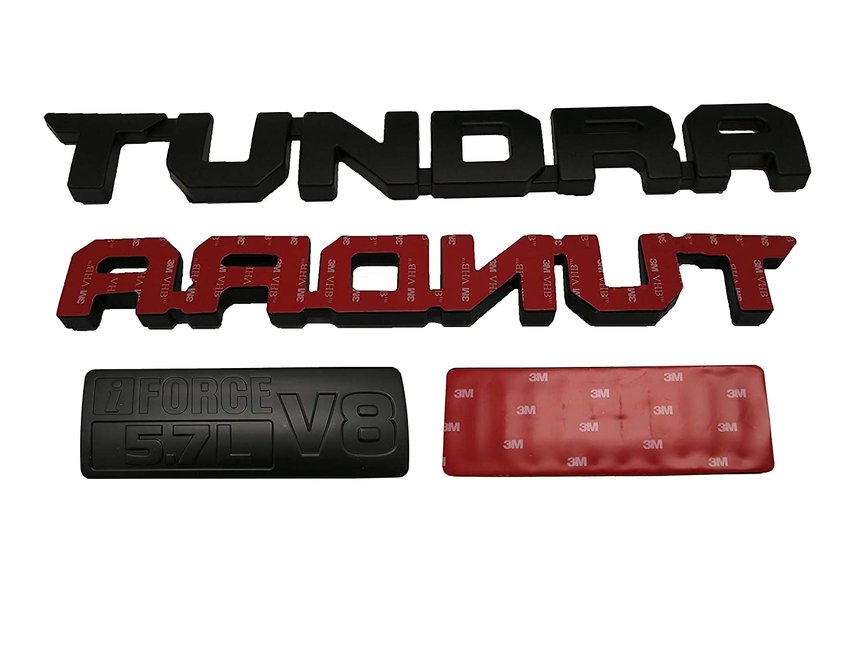 Matte Black Tundra Emblem 3D Tundra 5.7L V8 Door Emblem Nameplate Badge 3D Logo Sticker Decal for Tundra 2013-2018 SRS 1974 TRD PRO Pack of 4