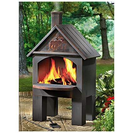 Amazon Com Cabin Style Cooking Chiminea Garden Outdoor