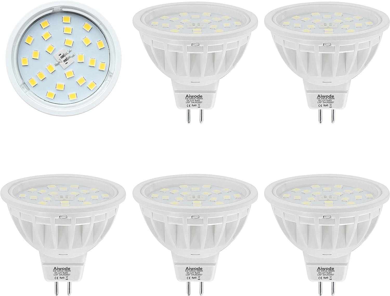 Bombillas MR16 LED Gu5.3 Reflector,Equivalente 50W Blanco Natural 4000K 600LM RA85,No Regulable AC/DC 12V,5 Piezas.
