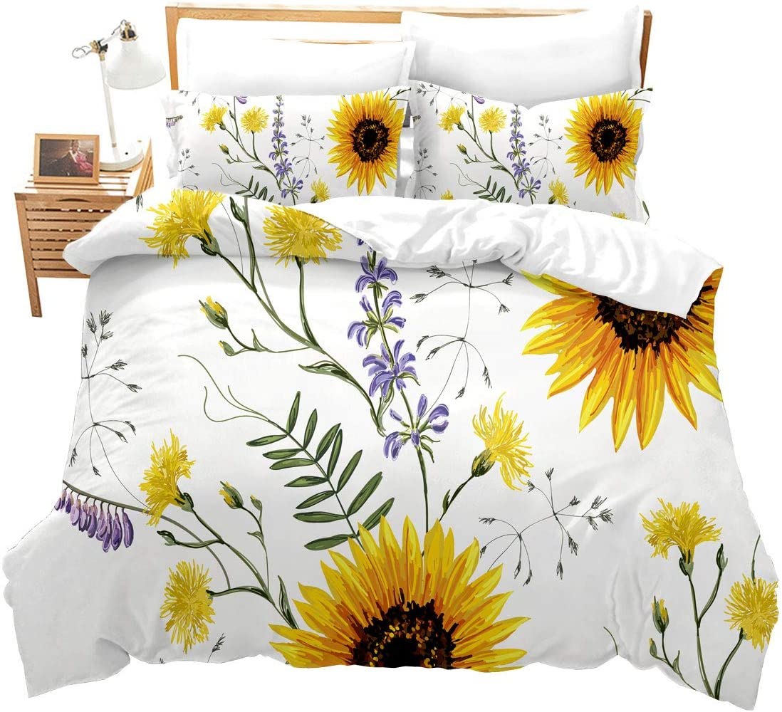 Feelyou Sunflower Duvet Cover Set Twin Size for Girls Cool 3D Floral Flowers Pattern Bedding Set Pastoral Comforter Cover with 1Pillow Shams Zipper Ultra Soft Microfiber Botanical Bedspread Cover