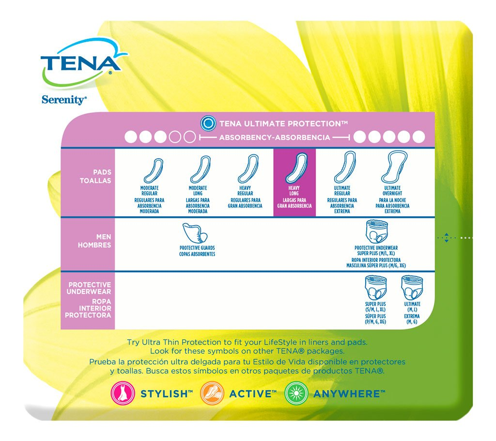 Amazon.com: Tena Intimates Heavy Long Incontinence Pad For Women, 12 Count: Prime Pantry