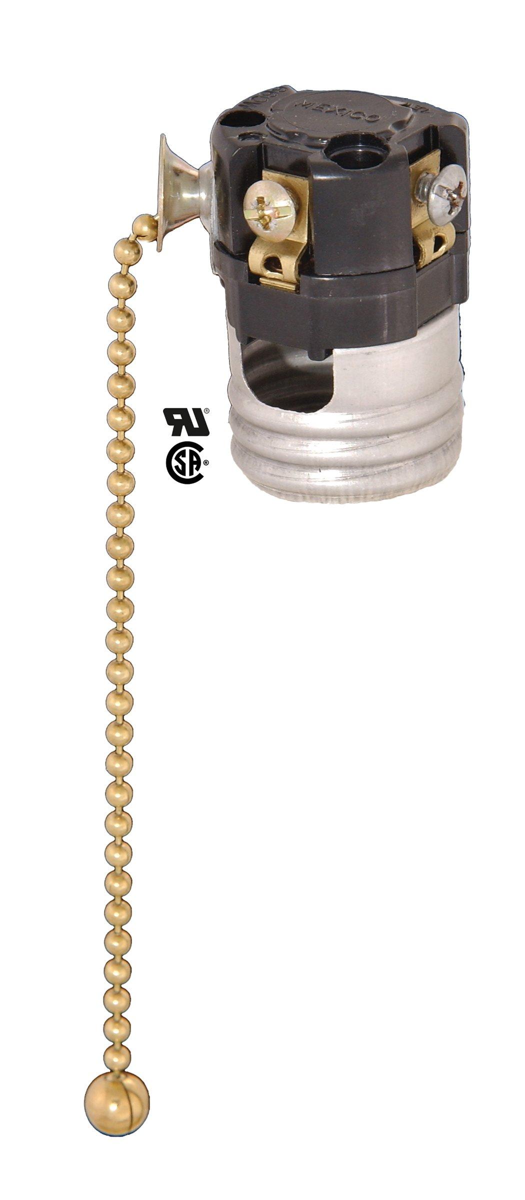 B&P Lamp 3-Way Pull Chain Socket Interior, No Paper Insulator
