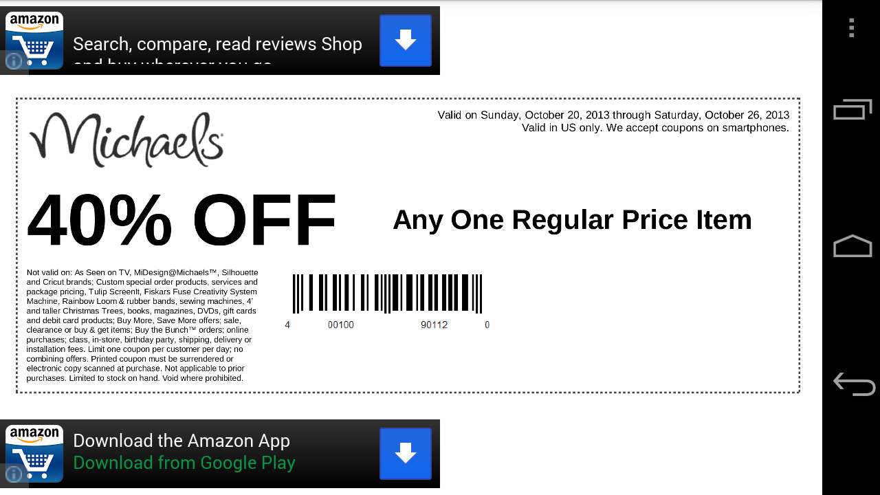 Amazon Com Coupons For Michaels Appstore For Android