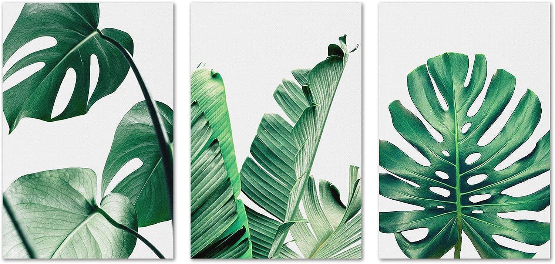 Botanical Prints Green Wall Art - Monstera Palm Banana Leaves Wall Decor Simple Life Minimalist Watercolor Painting Tropical Plants Living Room Decor Home Office Nursery Wall Decoration 8x12 Unframed