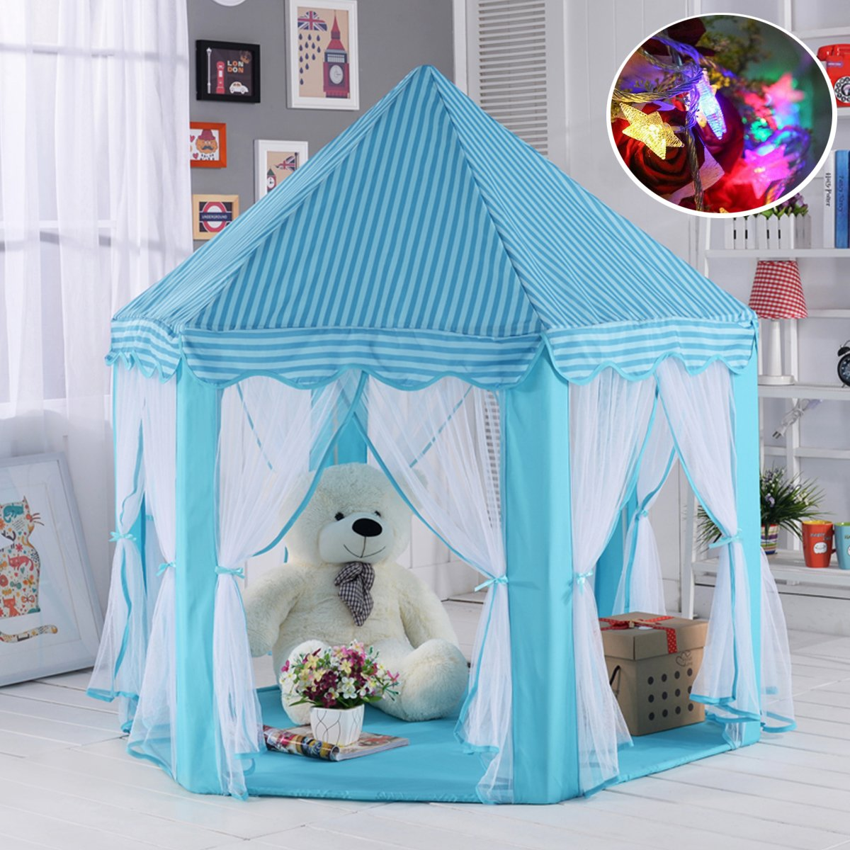 Aubeco Blue Hexagon Play Castle Indoor Kids Play Tent Outdoor Boys & Girls Playhouse with 23ft LED Star String Lights, Birthday for Kids, 55''(Diameter)×53''( Height)