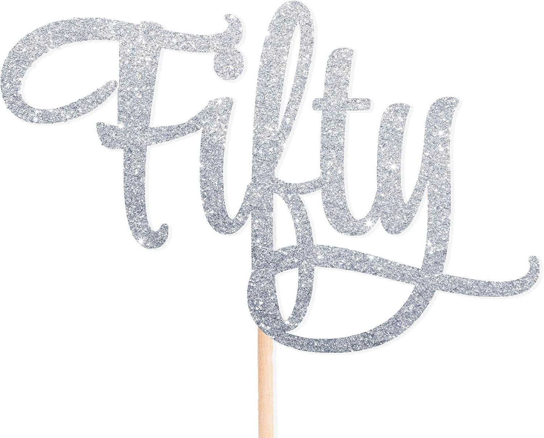 Cotone Candy Parti Fifty Argento Glitter Cake Topper 50/Festa di Compleanno 50th Fiftieth Topper per Cupcake