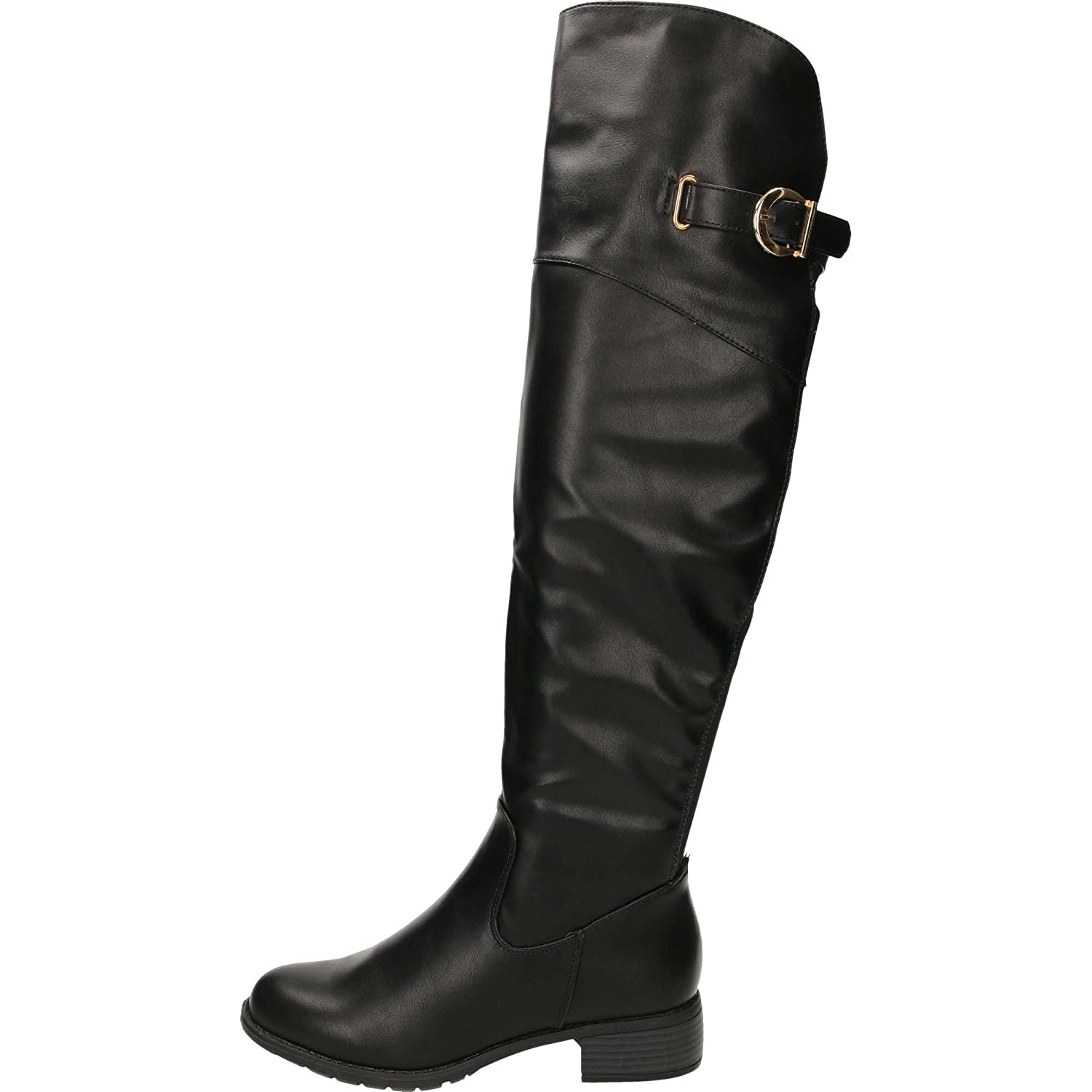 89657246dedfe Krush Knee High Tall Flat Stretchy Boots Black: Amazon.co.uk: Shoes & Bags