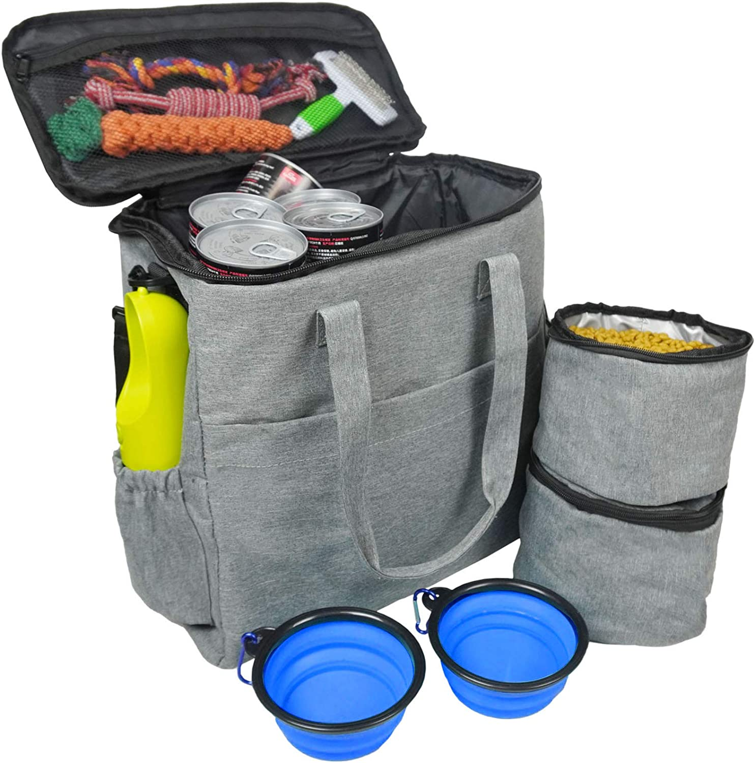 maxpama Dog Travel Bag - Weekend Tote Organizer Bag for Pet Travel, Airline Approved - Includes 1X Pet Travel Bag, 2X Food Storage Containers and 2X Collapsible Silicone Dog Bowls - Gray