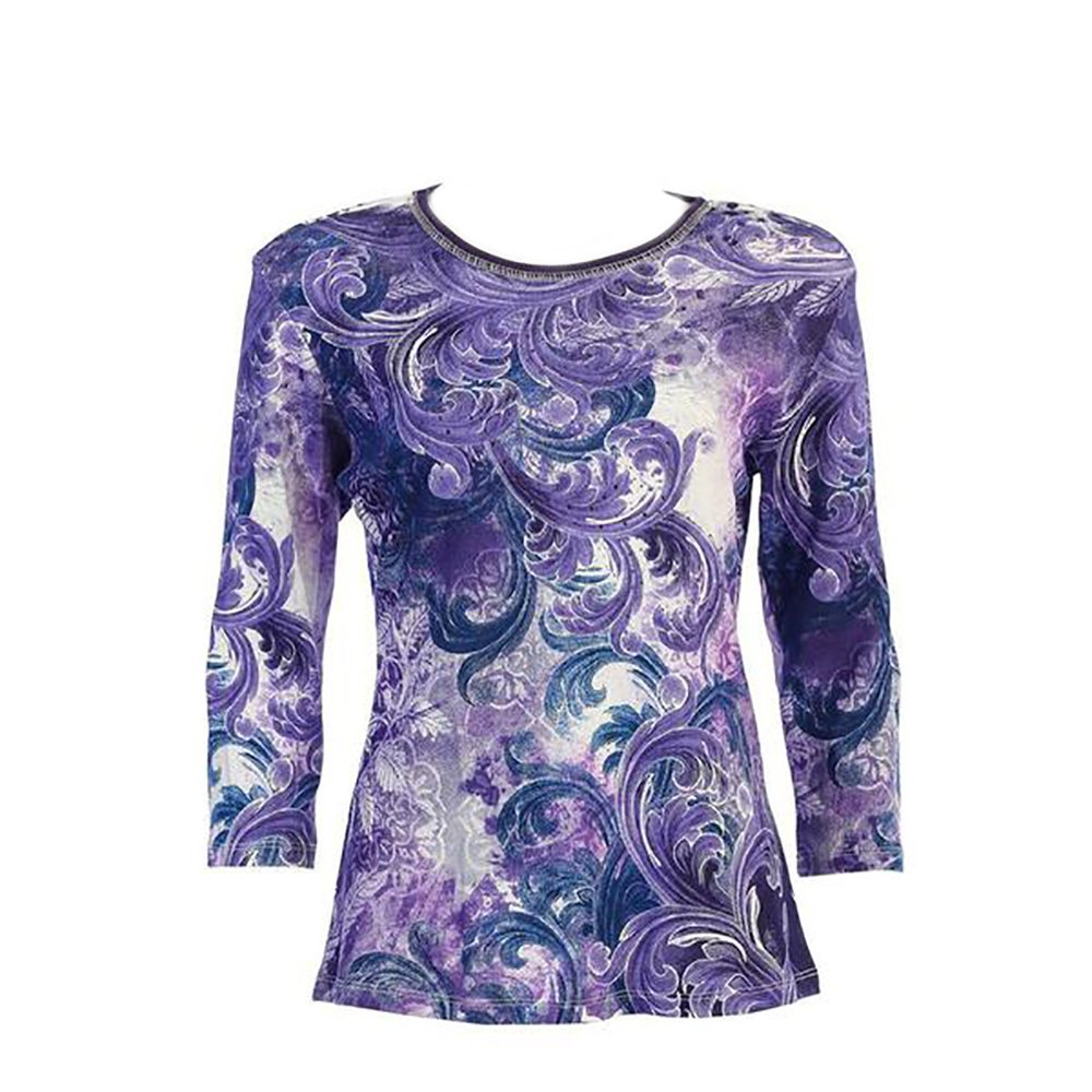 Jess & Jane Cotton Tee Shirt - ''Purple Dream'' in Ivory (Large)