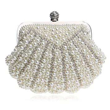 c6ac8fb5a72 Women Rhinestone Evening Bag Evening Bag Wedding Clutch Purse Women Noble  Pearl Beaded (Color : Creamy-White): Amazon.ca: Sports & Outdoors