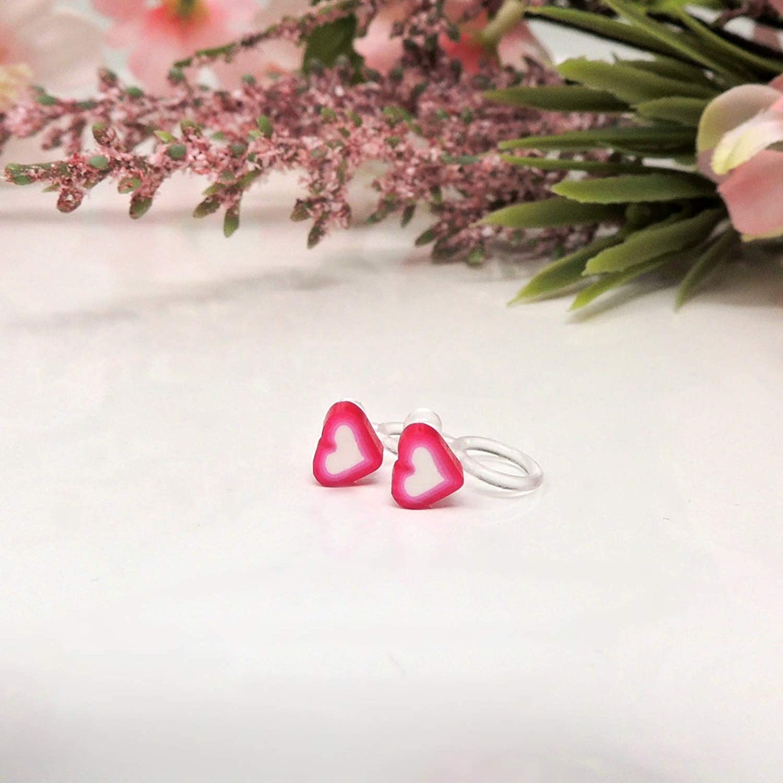 Dark Pink Clip On Tiny Heart Earrings for Non-Pierced Ears