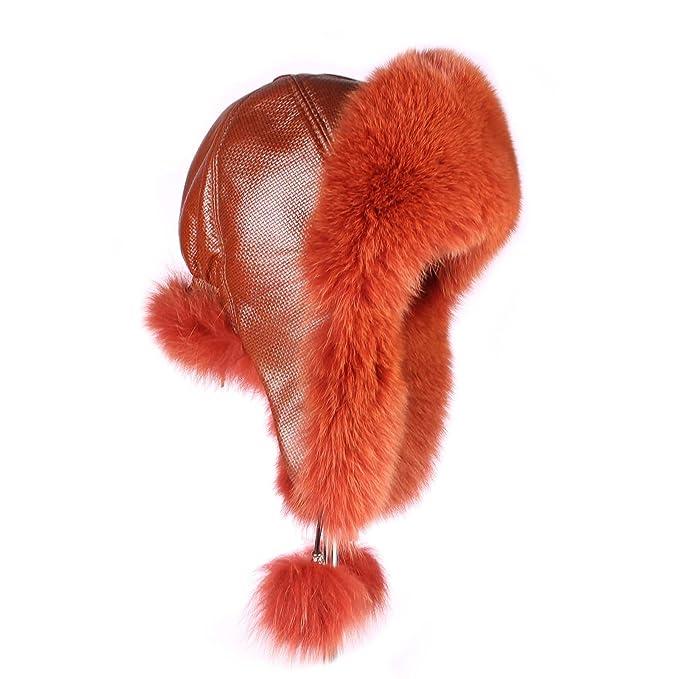 Donna Pelliccia Berretto Cappello di pelliccia volpe pelle cappello aviatore  berretto invernale berretto da sci Fox Colbacco Polar cappello russo  berretto ... a4f0ef74c56f