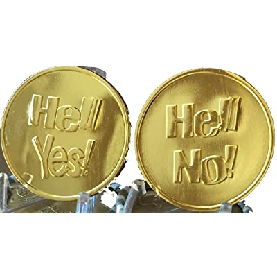 Hell Yes - Hell No Flipping Coin Gold Color Decision Maker Flip Medallion by RecoveryChip: Toys & Games