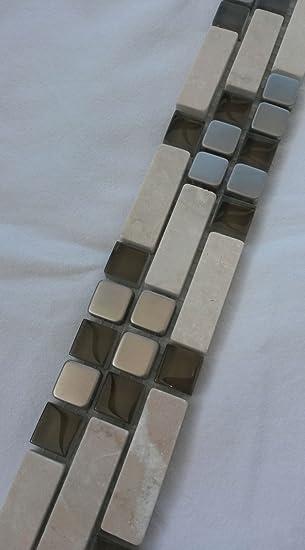 Fliese Marmor Bordüre 5 x 30,5 x 0,8cm Bruchstein braun beige Mosaik Bad Küche