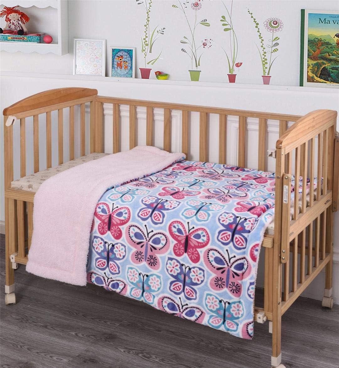 MB Collection Kids Soft & Warm Butterflies Blue Pink White Purple Design Sherpa Baby Toddler Girls Blanket Printed Borrego Stroller or Baby Crib or Toddler Bed Blanket Plush 40X50# Blue Butterfly