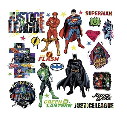 JUSTICE LEAGUE 28 Wall Decals Superman Batman Room Decor Stickers DC ...