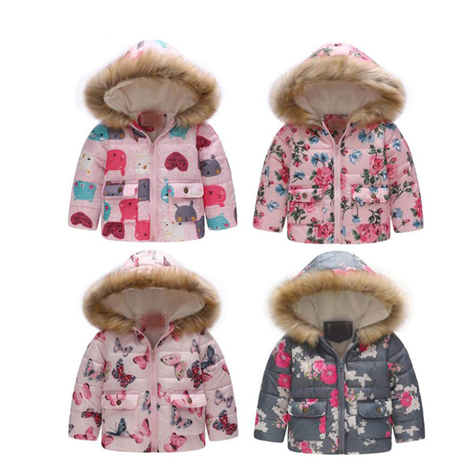 Girls Winter Coat Autumn Jacket for Girls Coat Kids Thick Warm Floral Hooded Children Outerwear Baby Coat Boys Girl Clothes