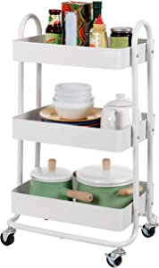Finnhomy 3 Tier Rolling Storage Utility Cart with Brake Wheels Heavy Duty Multifunctional Metal Mesh Organizer Carts with Drawer for Kitchen/Living Room/Bath Room/Office - White
