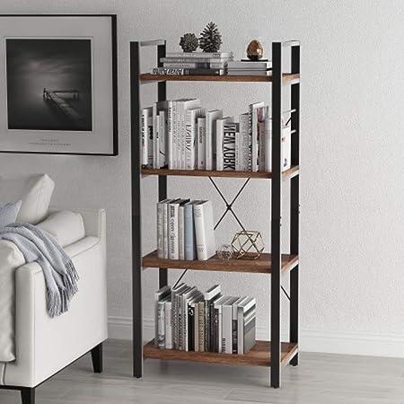 Estantería de piso a piso para escalera de salón, estante simple, estantería pequeña para el hogar, estante de almacenamiento de 4 pisos, estante de noche rústico marrón: Amazon.es: Hogar