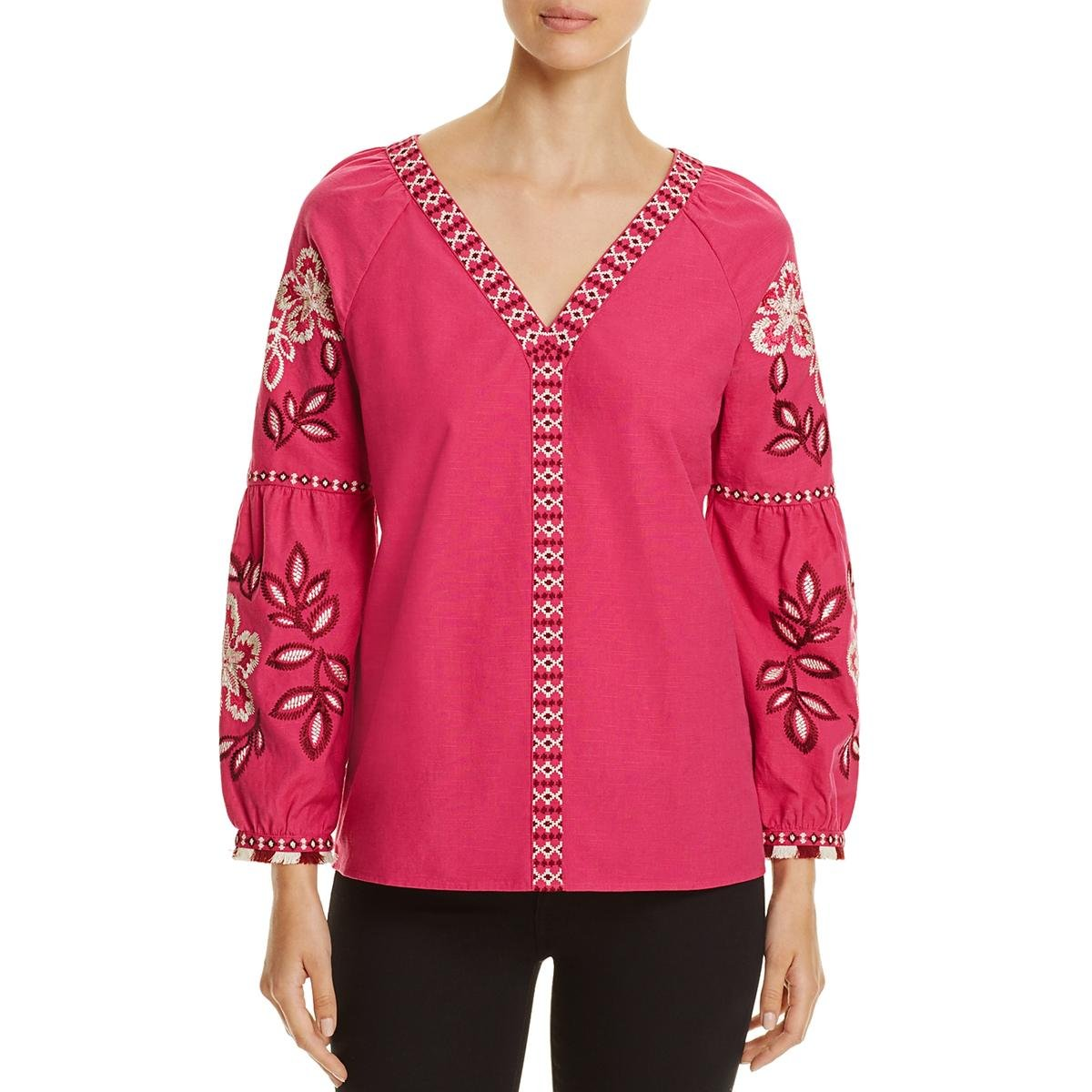 Tory Burch Womens Woven Printed Tunic Top Pink 4