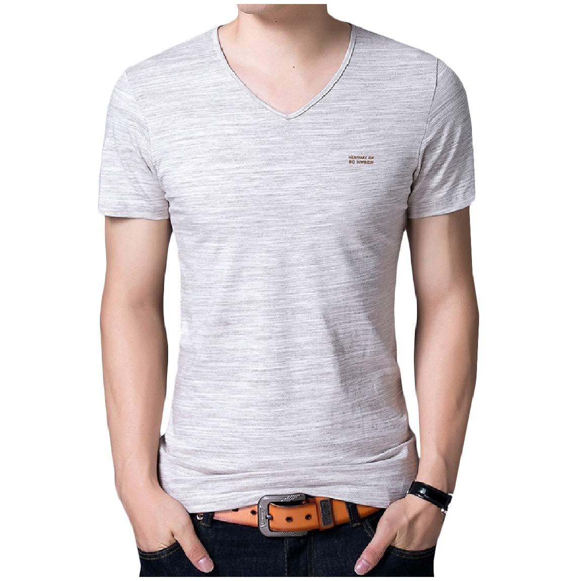 Mirrliy Mens Plus Size V-Neck Pullover Lounge Slim Short-Sleeve T-Shirt