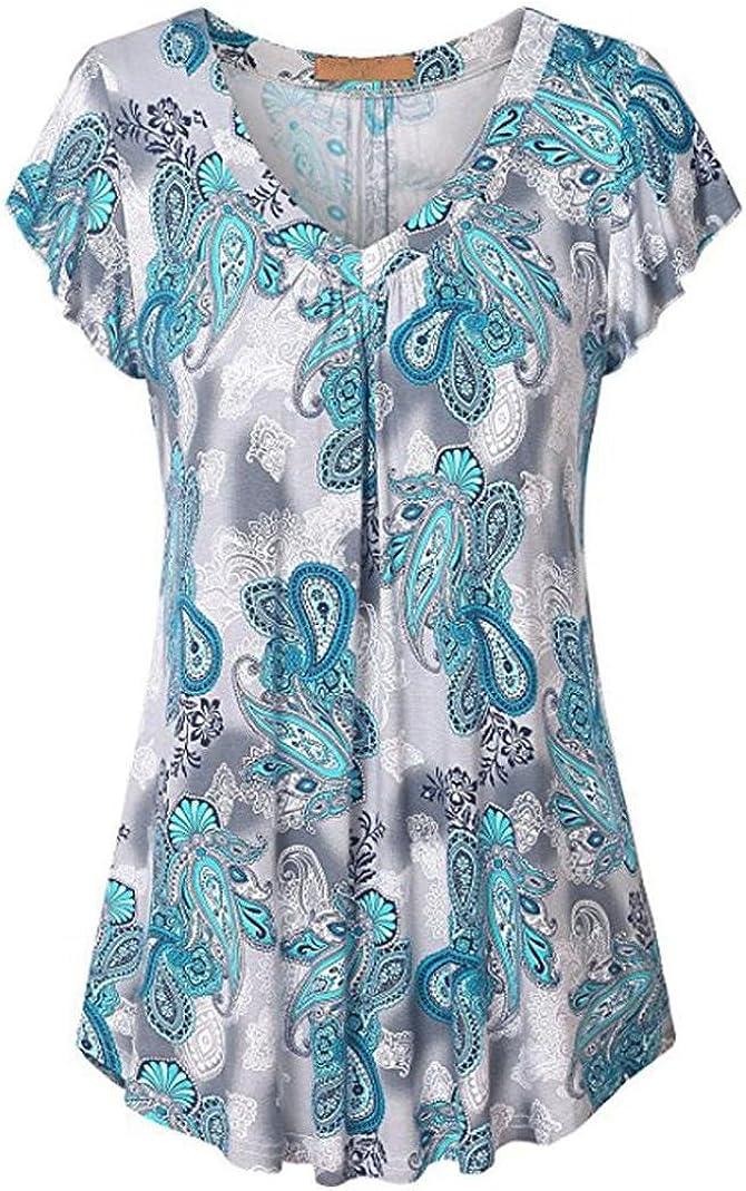 Lenfesh Blusa de Talla Grande para Mujer Blusa Estampada ...