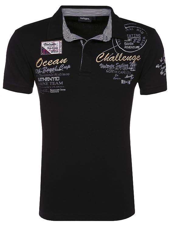 Behype Herren Polo-Shirt Challenge Kurzarm T-Shirt 20-2728: Amazon.de:  Bekleidung
