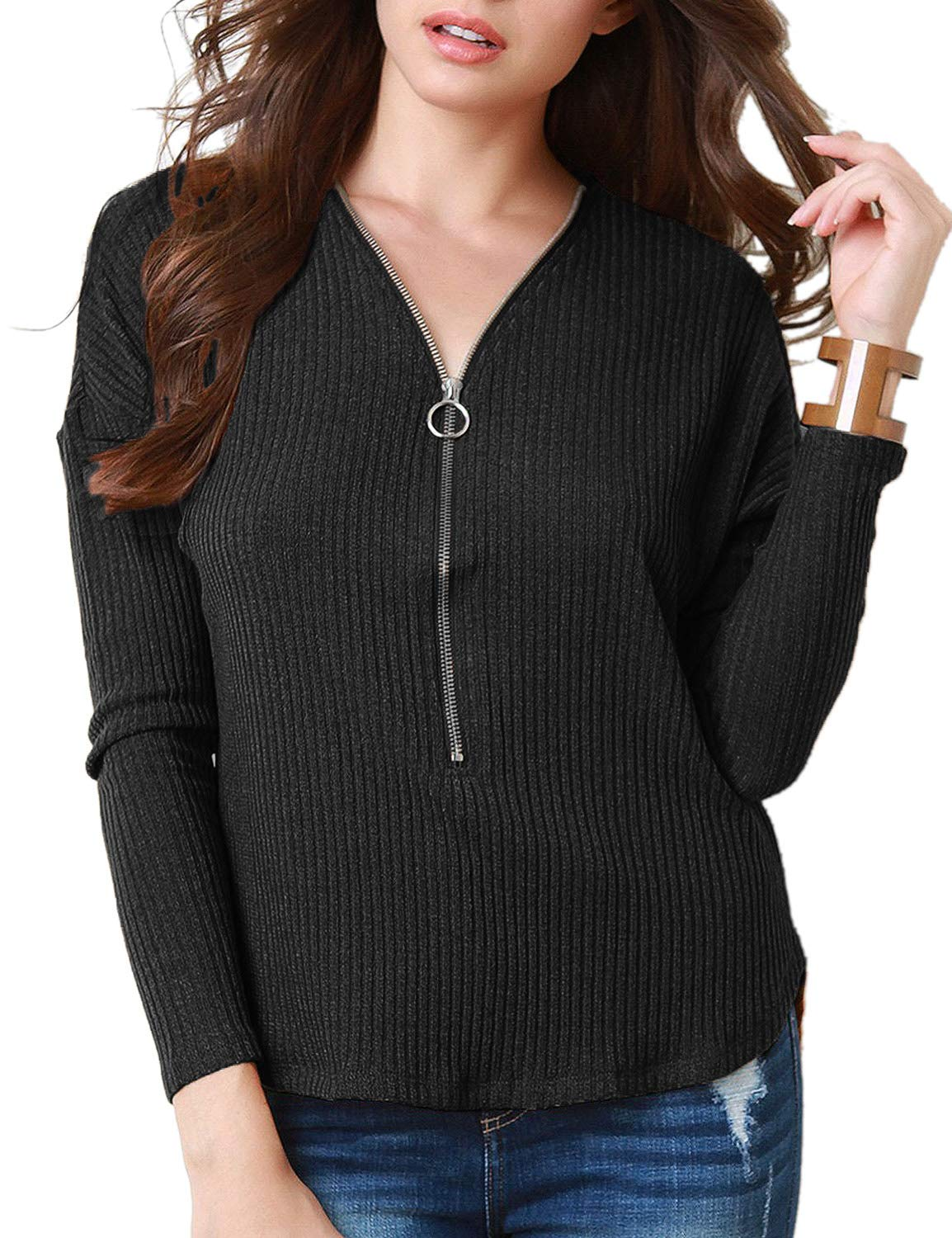 Utyful Women Casual Zipper V Neck Ribbed Knit Solid Black Long Sleeves Pullover Tops Shirts Size S 4 6