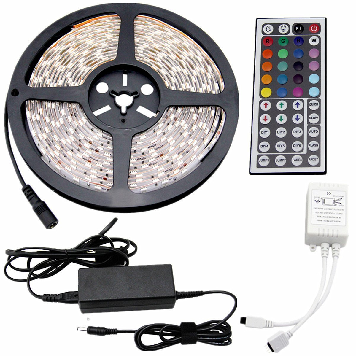 CARYLED 16.4ft 5M Waterproof Rope Lights 300 LED 5050 SMD Color Changing RGB Flexible LED Strip Light + 12V 6A Power Supply + Remote + IR Controller Muliticolored by CYLED (Image #4)