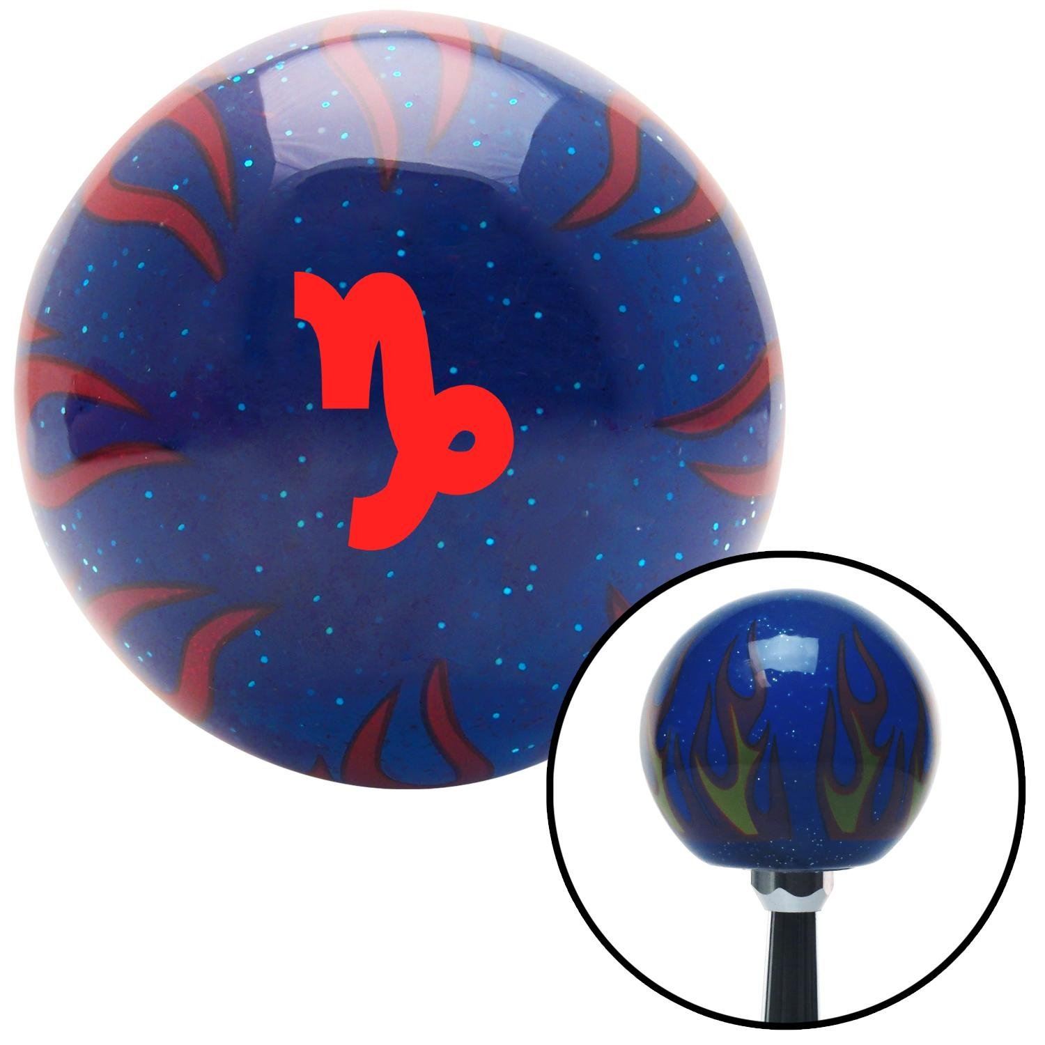 Red Capricorn Blue Flame Metal Flake with M16 x 1.5 Insert American Shifter 297989 Shift Knob