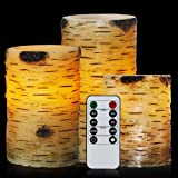 """Candles Birch, Flameless Candles Set of 4"""" 5"""" 6"""" Candles Remote Birch Bark Real Wax Pillar with Remote Timer By Comenzar"""