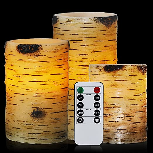 Christmas Tablescape Decor - Real Wax Birch Bark Flameless LED Candles Set of 3  with 10-key Remote Control Timer