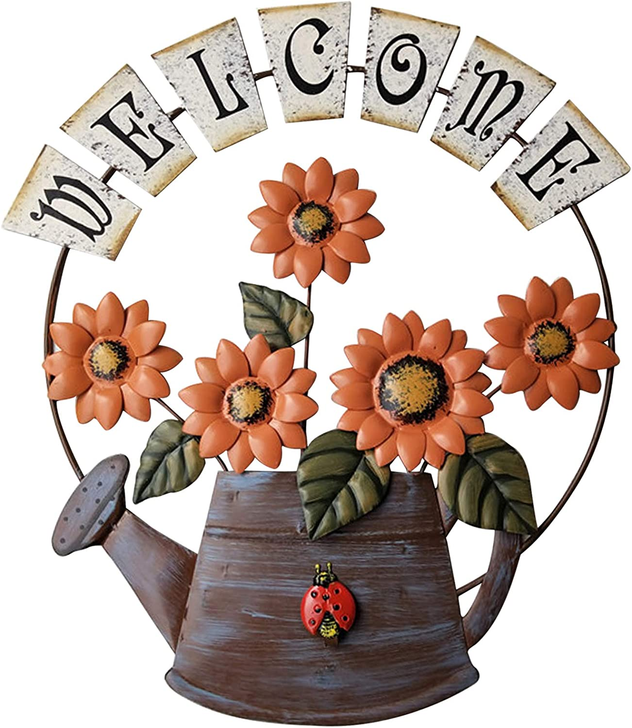 TISOSO Farmhouse Watering Can Design Sunflower Welcome Sign Rustic Welcome Door Sign Garden Themed Hanging Sign for Outdoor Home Kitchen Bathroom Wall Art Yard Entryway Decor Orange 15.5X14Inch