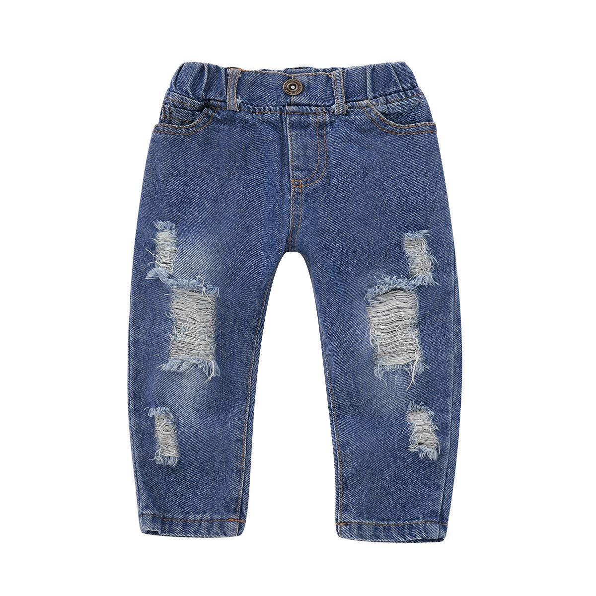 Ripped Jeans Denim Pants for Girls 1-4T 2Psc Outfits Set Floral Print Ruffle Short Sleeve Tops Toddler Baby Girl Clothes