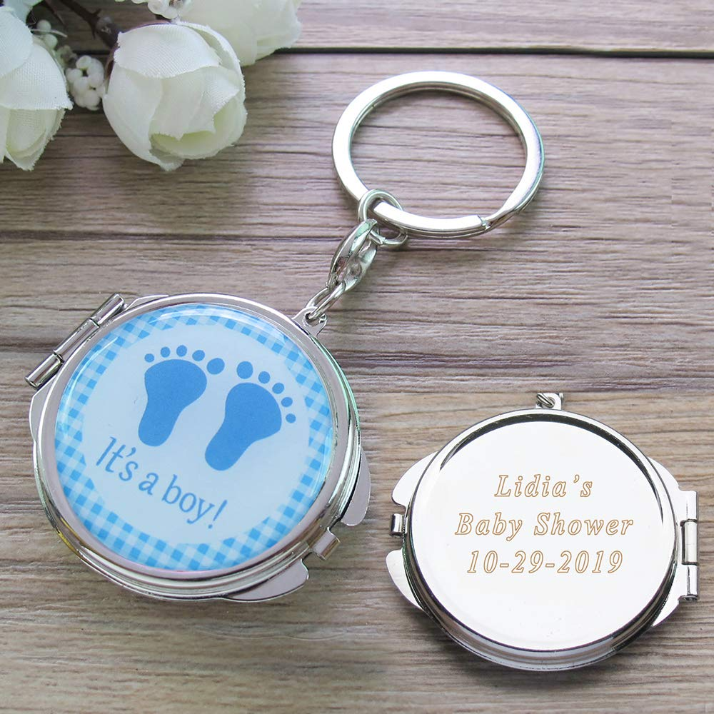 Personalized Baby Shower Blue Boy Mirror Keychain Favors with Baby Footprint Design Come with Organza Gift Bags Custom Laser Engraving Gift