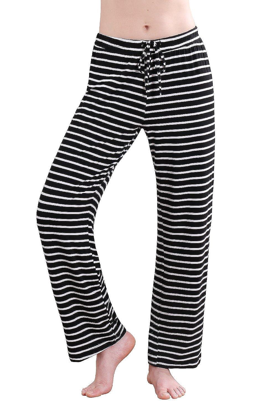 Black Stripe Wide Vislivin Women's Stretch Knit Pajama Pants Modal Sleep Pant