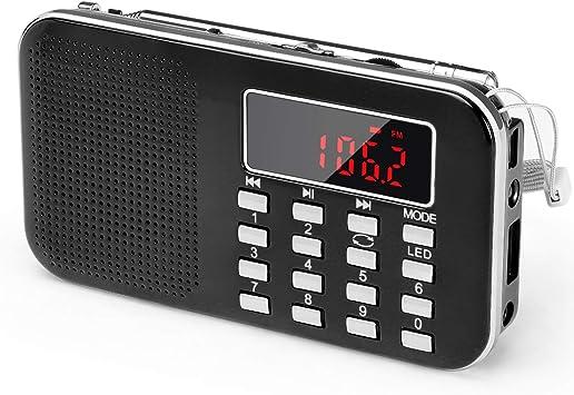 Radio de Transistor portátil pequeña, L-218 Radio Am/FM Digital de Bolsillo con Tarjeta Micro TF Reproductor de MP3 de Entrada Auxiliar de Disco USB, por PRUNUS(Negro): Amazon.es: Coche y moto