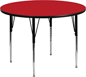 Flash Furniture 48'' Round Red HP Laminate Activity Table - Standard Height Adjustable Legs