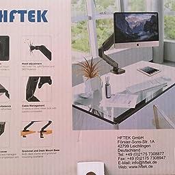 HFTEK - Soporte de Doble Brazo de Escritorio - Soporte para ...