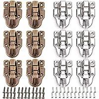 Tingz 12 stuks tuimelslot vangst klem eend gefactureerde gespen, 6 stuks retro klink en 6 stuks zilveren klink koffer…