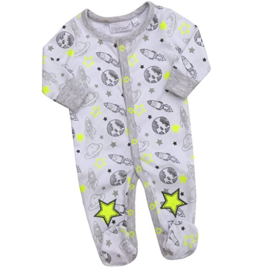 Baby Town Baby Boys Space Star Print Romper with Matching Bib Ideal for  Newborns All Over 70090eea2