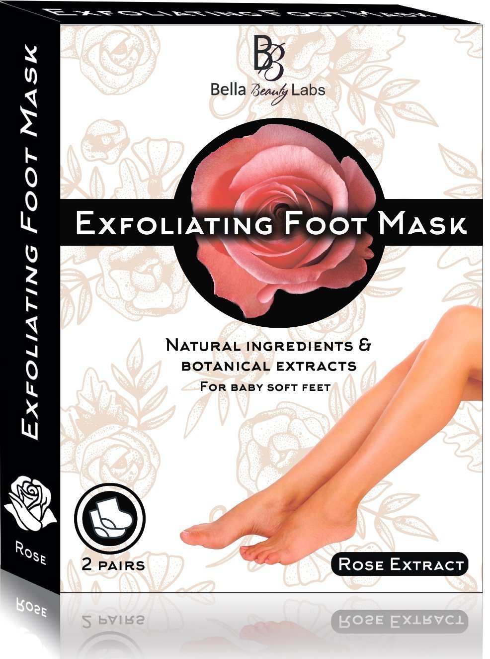 Foot Peel Mask 2 Pack for Smooth Soft Touch Feet - Peeling Away Calluses - Dead Skin Remover - Exfoliating Off Foot Mask for Baby Soft Silk Feet - Gel Socks Booties - Aloe Extract - Natural Rose Scent