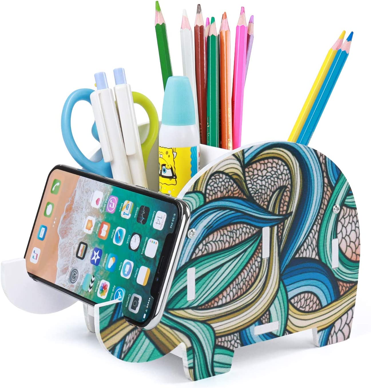 Pencil Holder Cell Phone Stand,Cute Elephant Office Accessories Tablet Desk Bracket Compatible for iPhone iPad Smartphone,Multifunctional Stationery Box Organizer